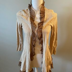 GUINEVERE Anthropologie Striped Ruffle Cardigan
